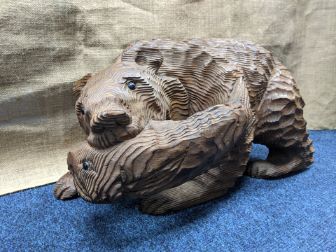 Large Handmade Wooden 'Bear with Fish' Sculpture