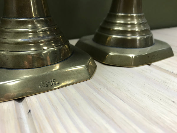 Pair of Solid Brass English Candlesticks