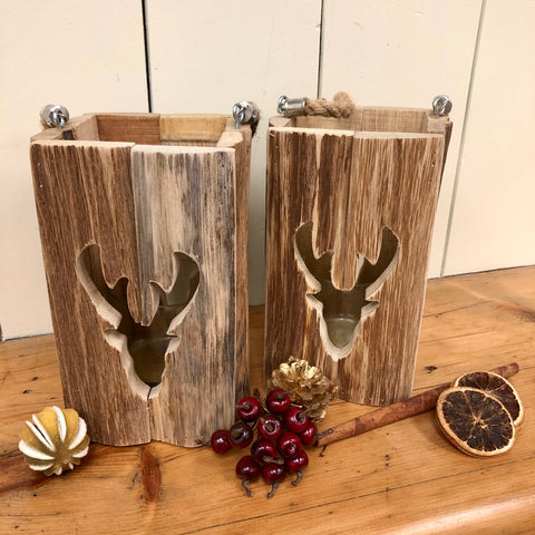 Driftwood Style Stag Candle Lantern