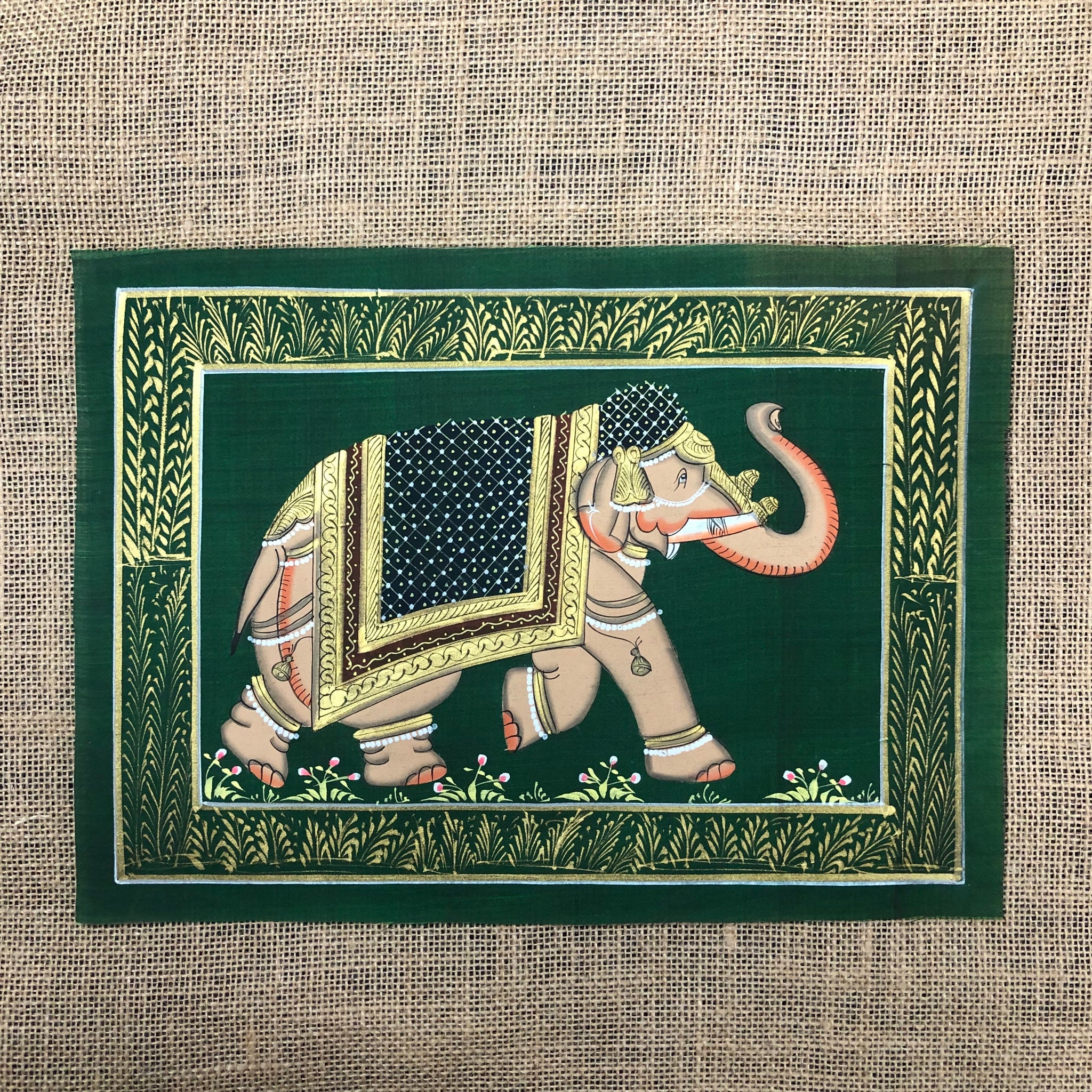 Hand Painted Elephants On Indian Silk
