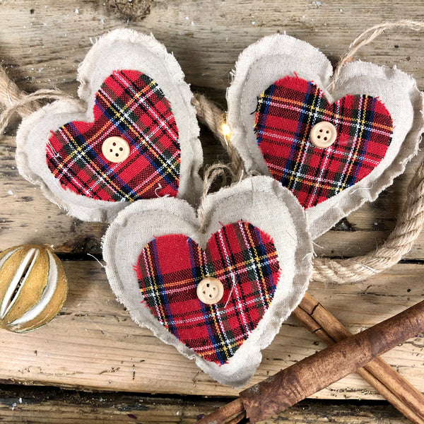 Fabric Tartan Hanging Heart