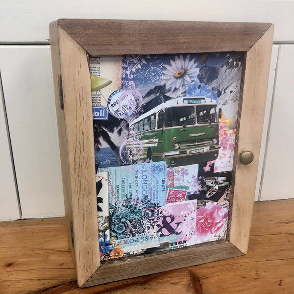 Decoupaged and painted key box