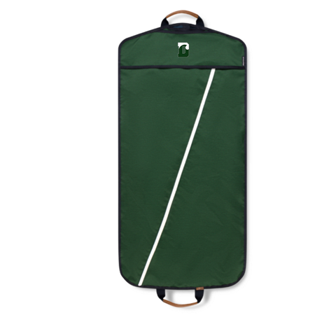 Garment Bag - Hudson Sutler - Green with Navy Blue Handle w/ White Diagonal Zipper