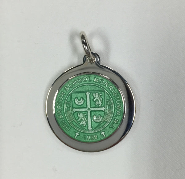 Charm - Sterling Silver Enamel Mounted Small - Light Green