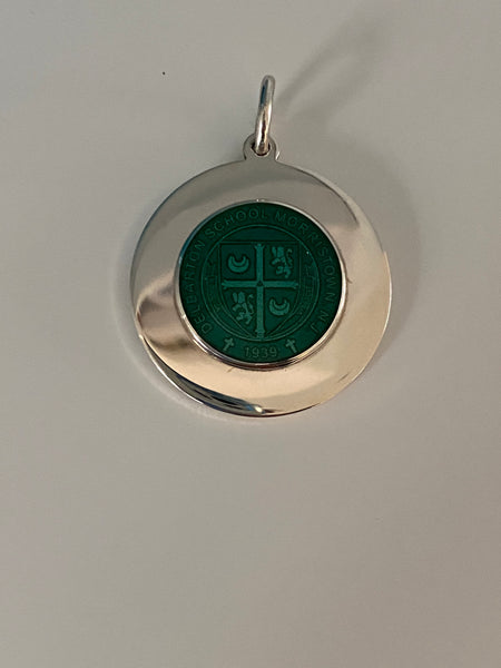 Charm- Sterling Silver Enamel No Mount large  - Dark Green