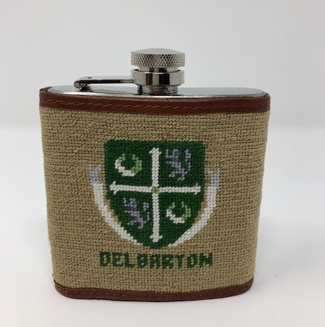 Needlepoint Flask with Crest - Green or Tan