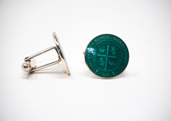 Cufflinks - Enamel Crest - Dark Green