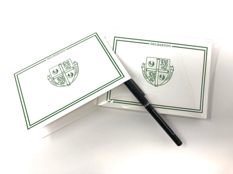 Notecards - Delbarton Crest - White and Green