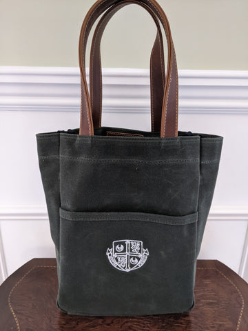 Wine Tote - Hunter Green / Whiskey Brown