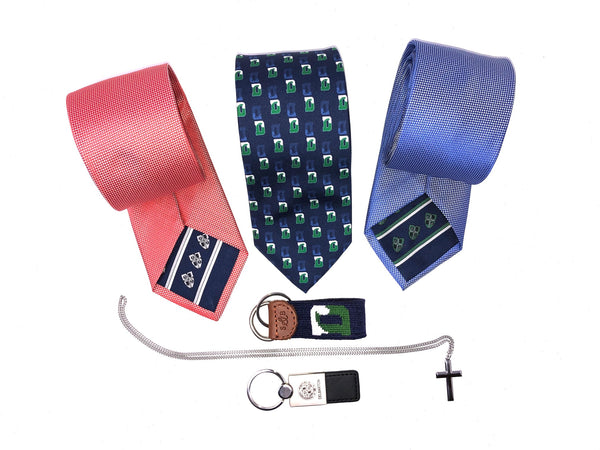 Tie – Lazy Jack - Red Woven with Crest in lining