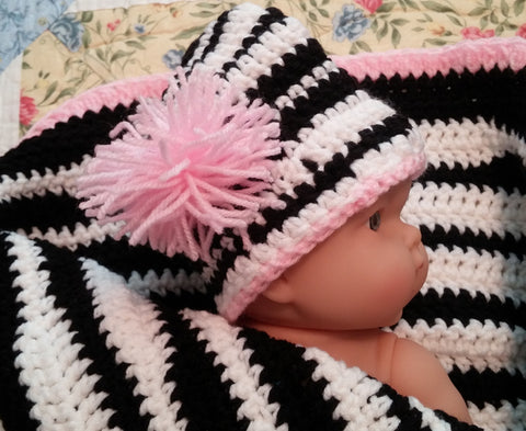 Zebra Striped Blanket, Beanie and Booties