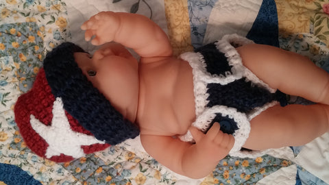 Patriotic Baby Beanie with Matching Diaper Cover