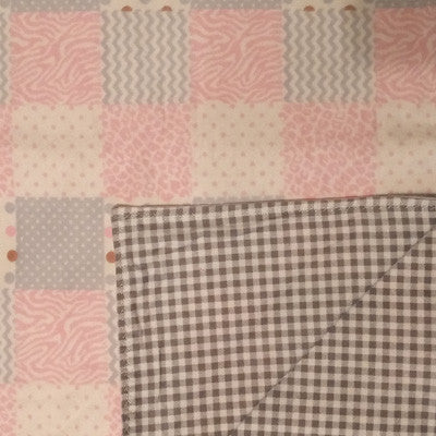 Reversible Baby Blanket - Pink Geometric/Gray Gingham