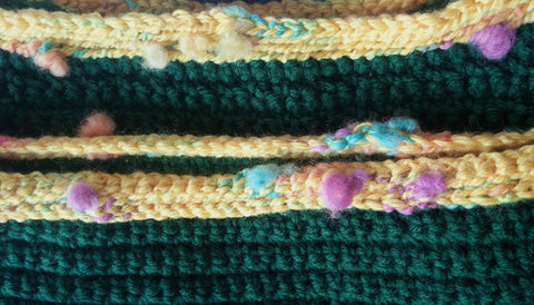 Green Banded Pullover Sweater - Close up of Neck/Bottom Edge