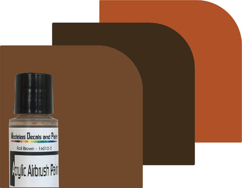 3-Pack Airbrush Paint -- Grimy Black, Rail Brown, Rust