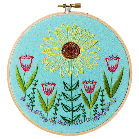 Summer Garden -- Cozy Blue Embroidery Kit