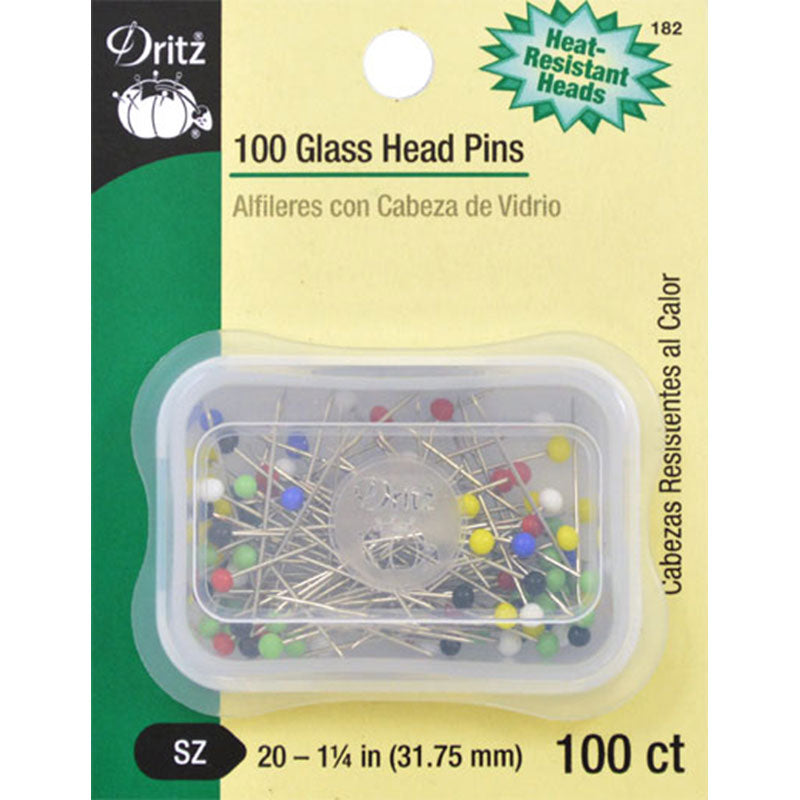 100 Glass Head Pins -- Dritz
