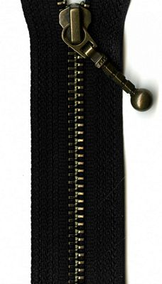 "Antique Brass 7"" Zipper --  Black"