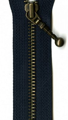 "Antique Brass 26"" Separating Zipper -- Navy"