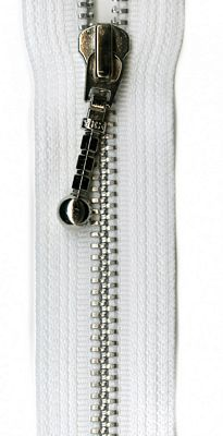 "Silver 22"" Separating Zipper --  White"