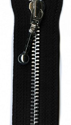 "Silver 22"" Separating Zipper --  Black"