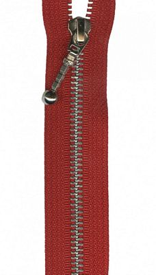 "Silver 22"" Separating Zipper --  Red"