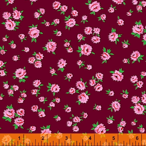 Little Roses in Burgundy -- Posy by Annabel Wrigley --- Windham Fabrics