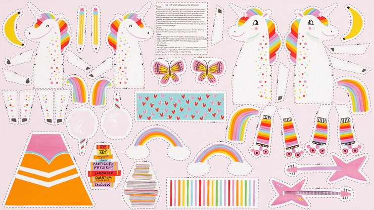 Magical Rainbow Unicorn Cut & Sew Doll by Hello! Lucky  -- Robert Kaufman
