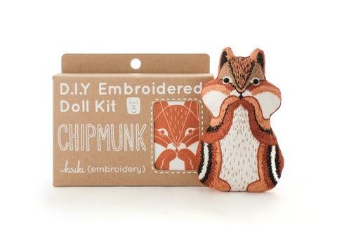 Chipmunk Embroidery Kit --- Kiriki Press