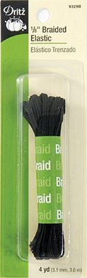1/8in Black Braided Elastic 4yd -- Dritz