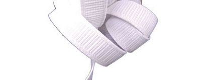 "1.5"" Non-Roll Woven Elastic White  -- by half yard"