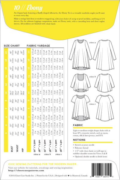 Ebony Dress & T-Shirt Pattern -- Close Case Patterns