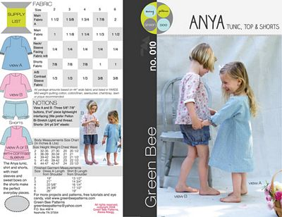 Anya Tunic, Top & Shorts for Girls --- Green Bee Designs & Patterns