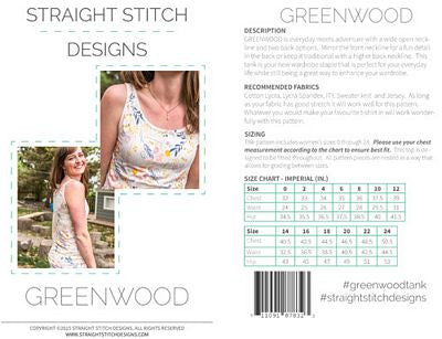 Greenwood Tank Top Pattern --- Straight Stitch Design