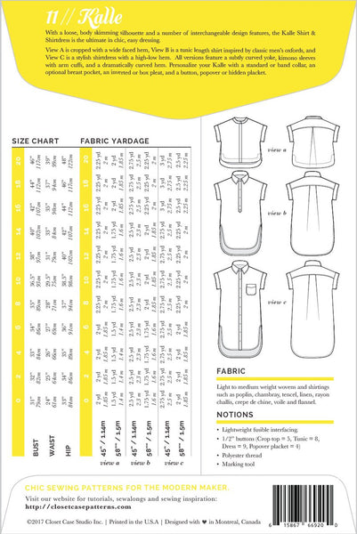 Kalle shirt dress pattern -- Close Case Pattners