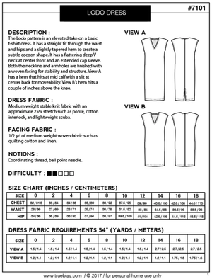 Lodo Dress Pattern -- True Bias Patterns