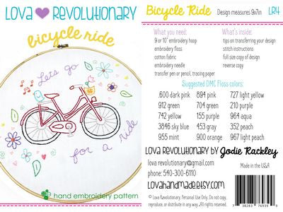 Bicycle Ride Hand Embroidery Pattern by Lova Revolutionary