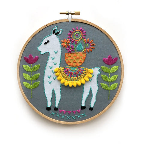 Llama Embroidery Kit -- RikRack Embroidery