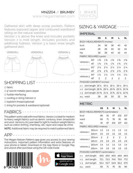 Brumy Skirt SEWING PATTERN by Megan Nielsen