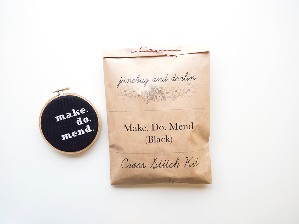 Make. Do. Mend (Black) Embroidery Kit --- Junebug and Darlin