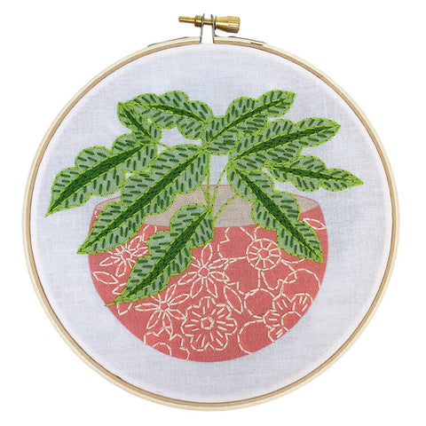 Pink Flower Pot Embroidery Kit -- RikRack Embroidery