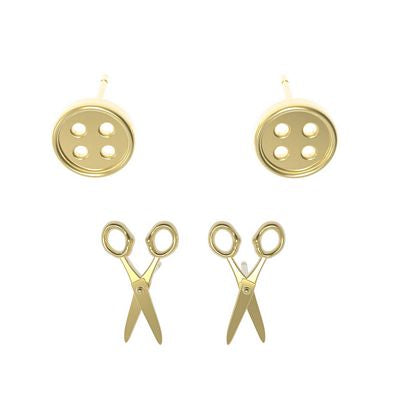 Button & Scissors Earrings 2ct in Gold