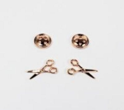 Button & Scissors Earrings 2ct in Rose Gold