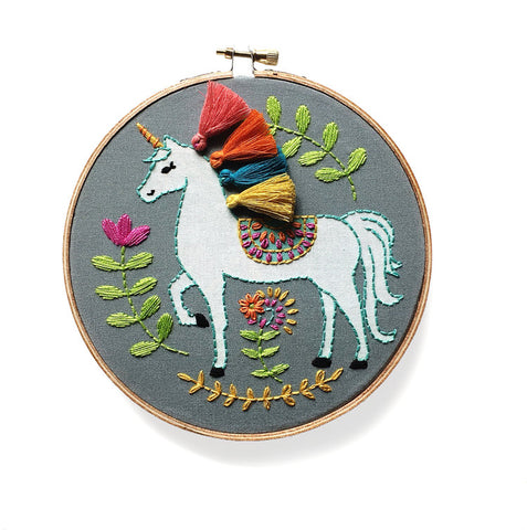 Unicorn Embroidery Kit -- RikRack Embroidery