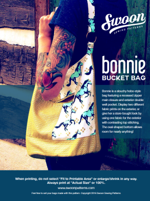Bonnie Bucket Bag Sewing Pattern-- Swoon Sewing Patterns