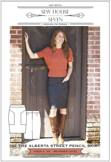 The Alberta Street Pencil Skirt Sewing Pattern --- Sew House 7