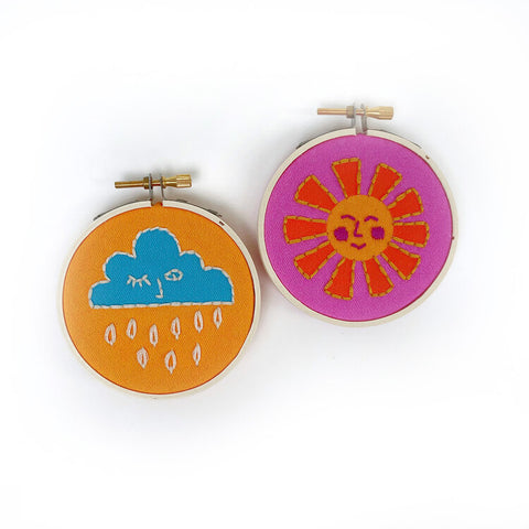 Sun + Cloud Mini Embroidery Kit -- RikRack Embroidery