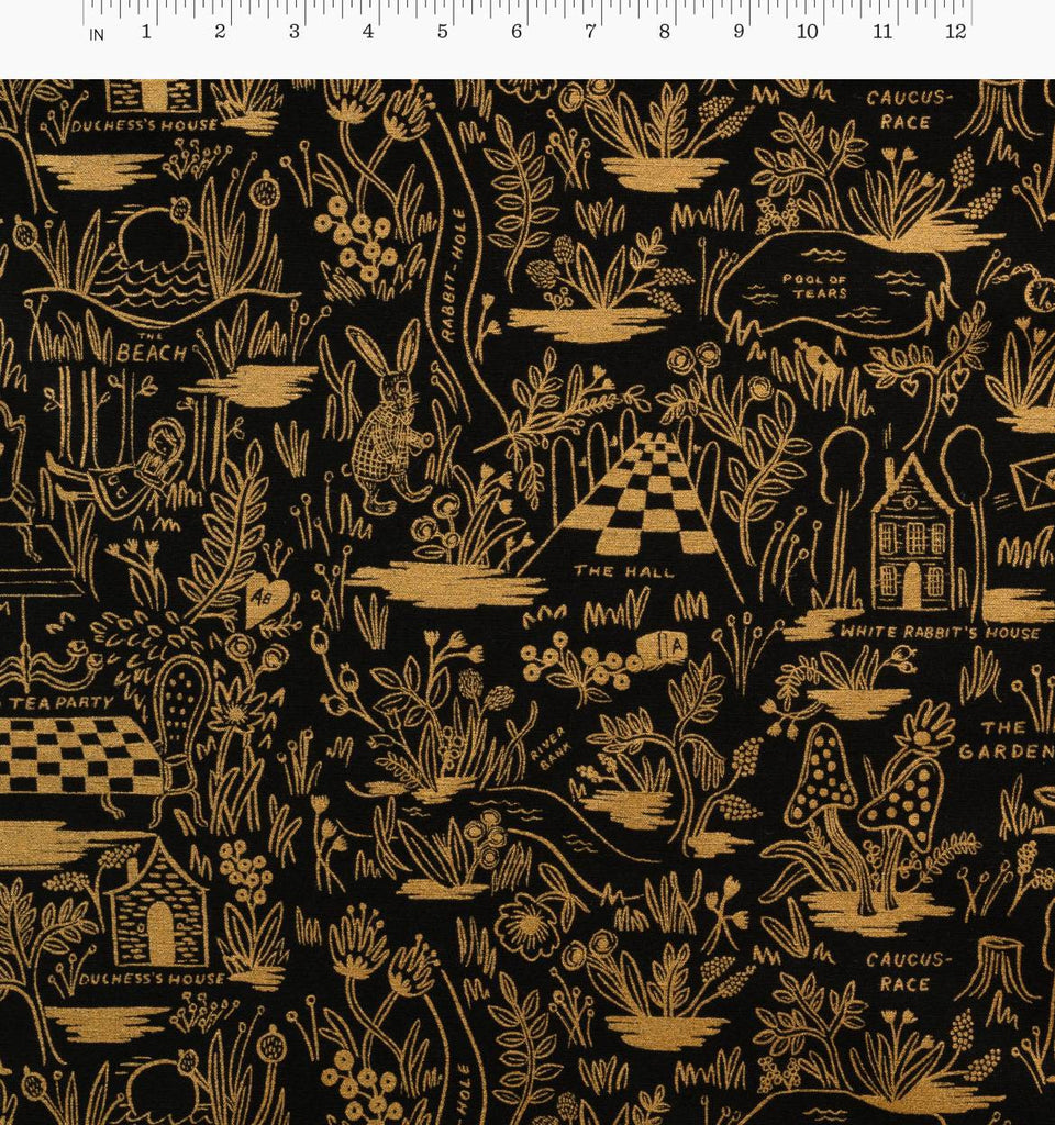 Magic Forest in Charcoal Metallic Canvas --- Wonderland by Rifle Paper Co for Cotton + Steel