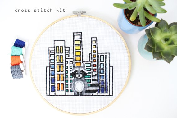 Raccoon in the City  - Modern Counted Cross Stitch kit by Diana Watters