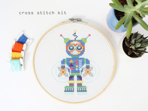Aqua Bot - Modern Counted Cross Stitch kit by Diana Watters